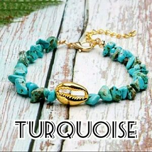 Natural Stone Cowrie Shell Bracelet - Turquoise